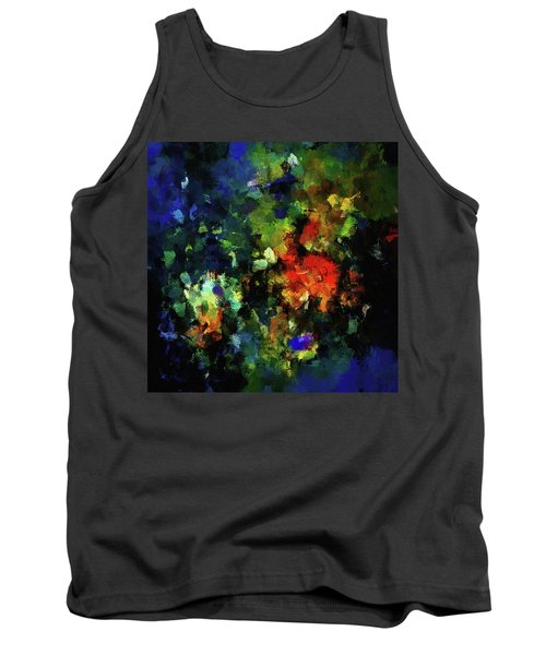 Tank Top featuring the painting Abstract Painting In Dark Blue Tones by Ayse Deniz