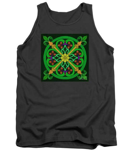 Acorn On Dark Green Tank Top