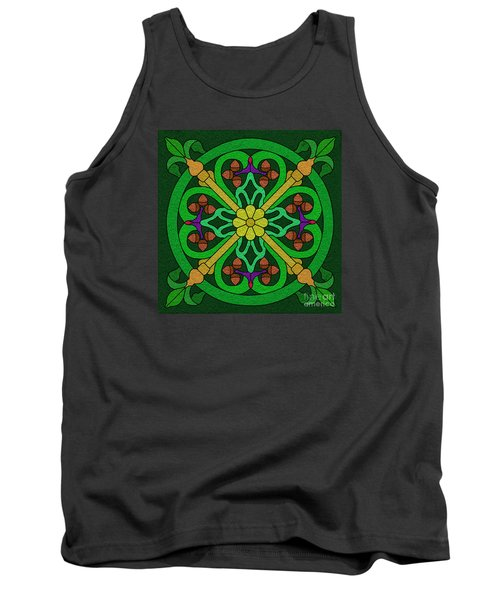 Acorns On Forest Green Tank Top