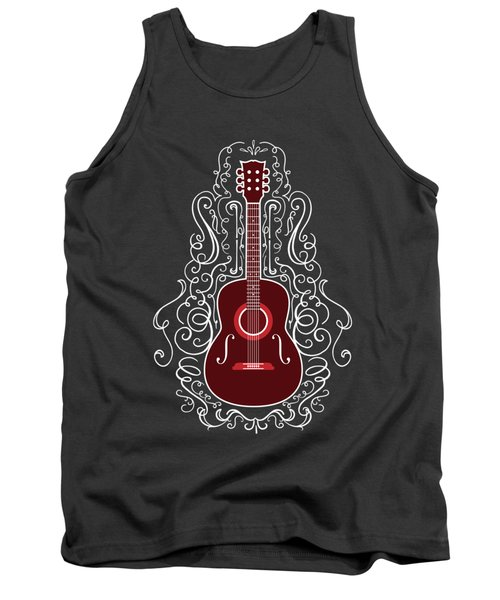 Acoustic Guitar With Scroll Design Tank Top
