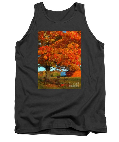 Tank Top featuring the painting Adirondack Autumn Color Brush by Diane E Berry