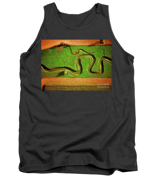aerial, farm, stream, northern, Illinois, farms, meandering  Tank Top