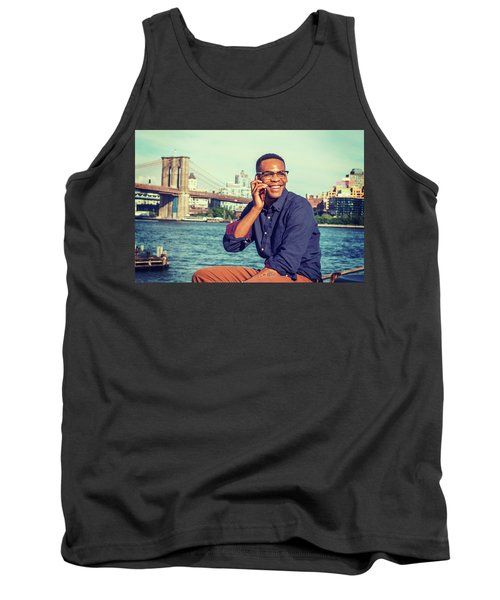 African American Man Traveling In New York Tank Top