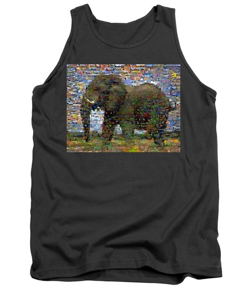 Tank Top featuring the mixed media African Elephant Wild Animal Mosaic by Paul Van Scott