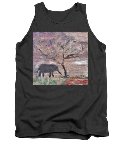 African Landscape Baby Elephant And Banya Tree At Watering Hole With Mountain And Sunset Grasses Shr Tank Top