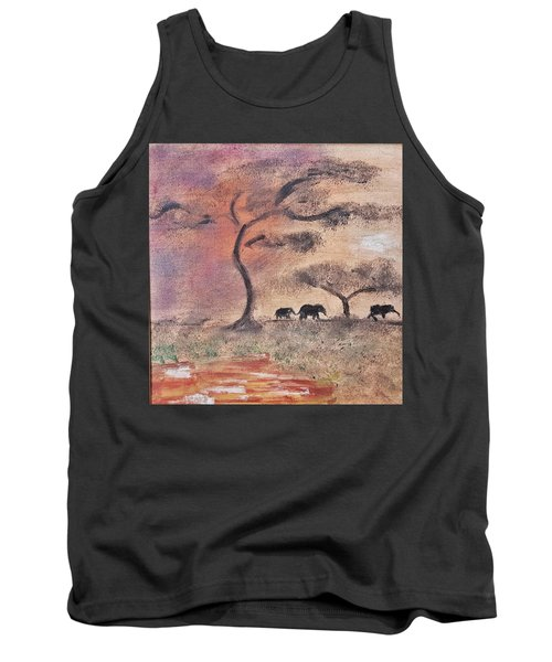 African Landscape Three Elephants And Banya Tree At Watering Hole With Mountain And Sunset Grasses S Tank Top