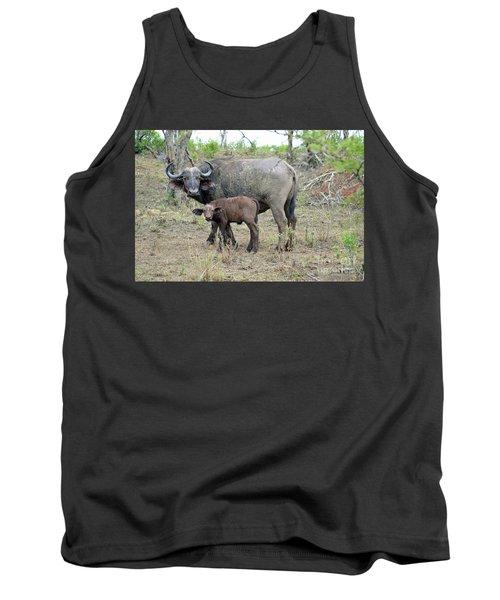 African Safari Mother And Baby Buffalo Tank Top by Eva Kaufman