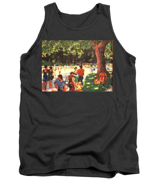 Tank Top featuring the painting Afternoon In The Park by Walter Casaravilla