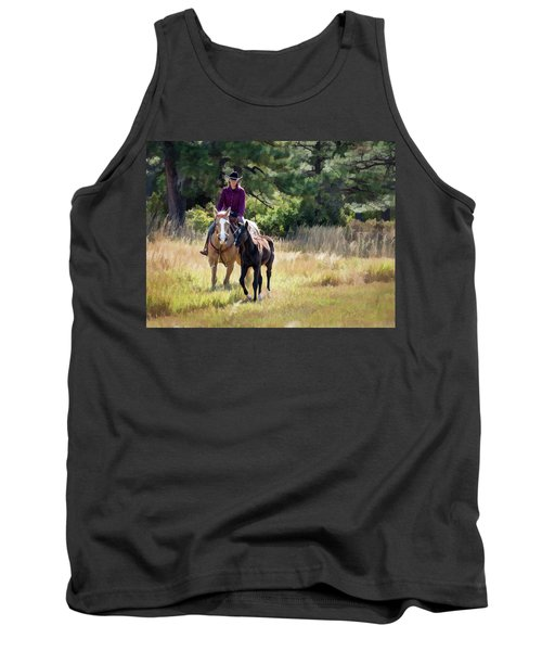 Afternoon Ride In The Sun - Cowgirl Riding Palomino Horse With Foal Tank Top