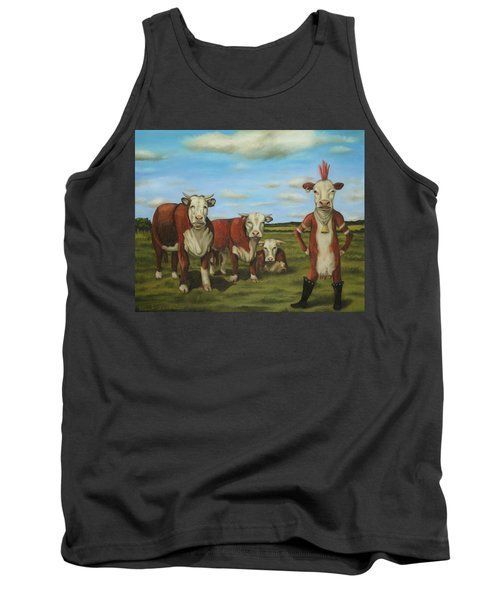 Tank Top featuring the painting Against The Herd by Leah Saulnier The Painting Maniac