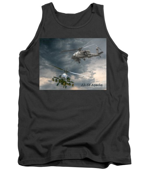 Ah-64 Apache Attack Helicopter In Flight Tank Top