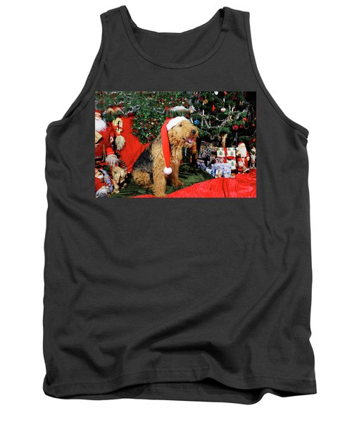 Airedale Terrier Dressed As Santa-claus Tank Top