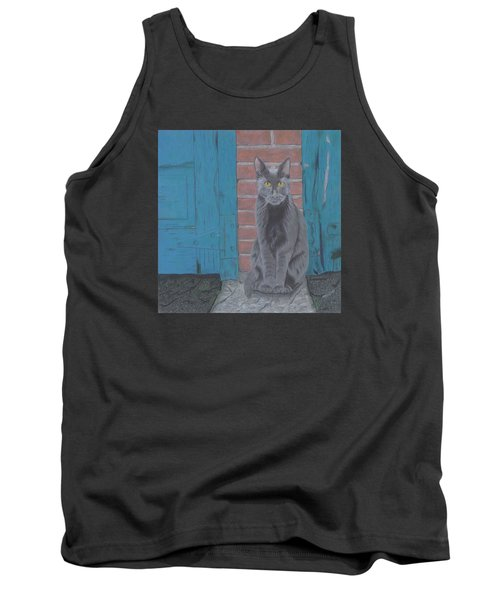 Tank Top featuring the drawing Alley Cat by Arlene Crafton
