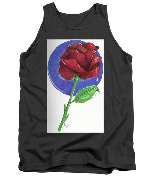 Tank Top featuring the drawing Almost Black Rose by Loretta Nash