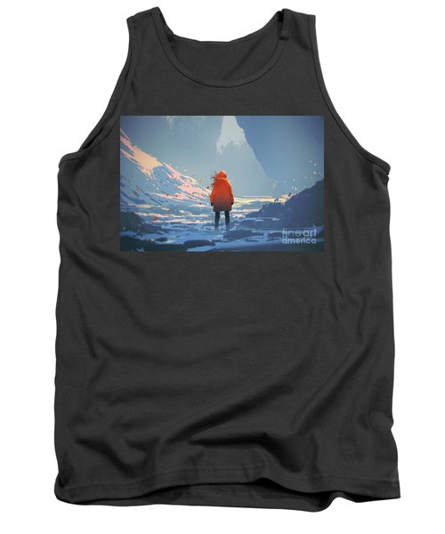 Tank Top featuring the painting Alone In Winter by Tithi Luadthong