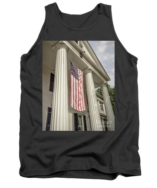 American Flag On Period House Tank Top