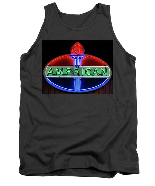 Tank Top featuring the photograph American Oil Sign by Sandy Keeton