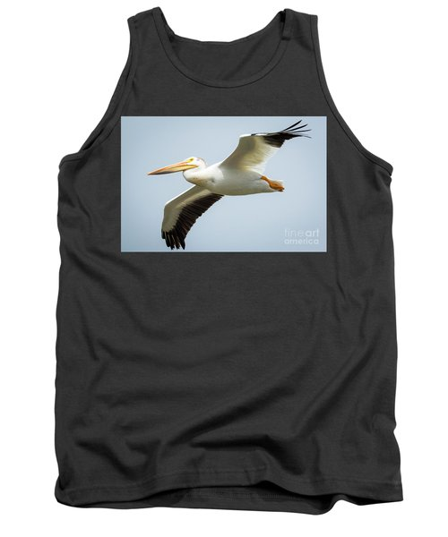 Tank Top featuring the photograph  American White Pelican Flyby  by Ricky L Jones