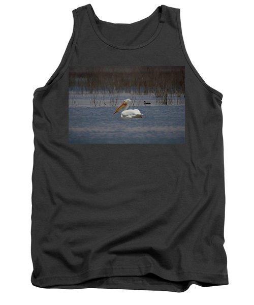 American White Pelican Searching Da Tank Top by Ernie Echols