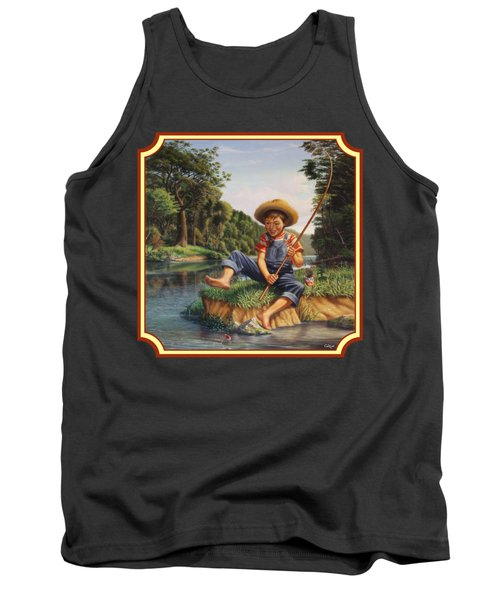 Americana - Country Boy Fishing In River Landscape - Square Format Image Tank Top