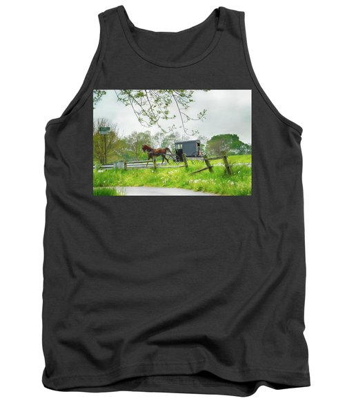 Amish Buggy Along Ronks Road Tank Top