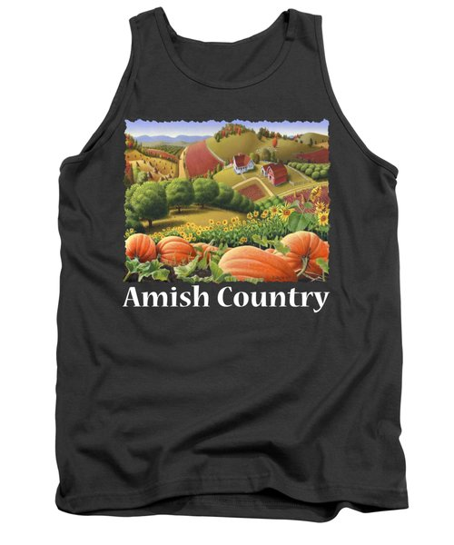 Amish Country T Shirt - Pumpkin Patch Country Farm Landscape 2 Tank Top
