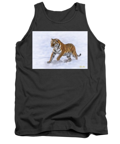 Tank Top featuring the photograph Amur Tiger Running In Snow by Rikk Flohr