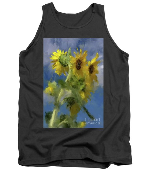 Tank Top featuring the photograph An Impression Of Sunflowers In The Sun by Lois Bryan