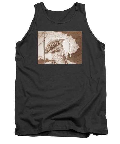 An Old Fashioned Girl In Sepia Tank Top by Antonia Citrino