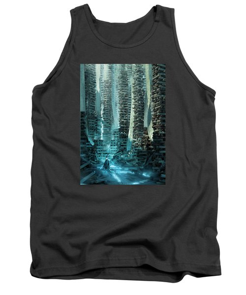 Tank Top featuring the digital art Ancient Library V1 by Te Hu