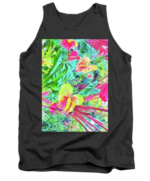 Anthuriums Pink And Turquoise Tank Top