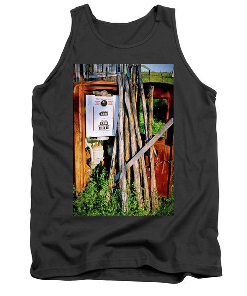 Tank Top featuring the photograph Antique Gas Pump by Linda Unger
