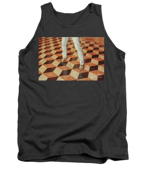 Tank Top featuring the photograph Antique Optical Illusion Floor Tiles by Patricia Hofmeester
