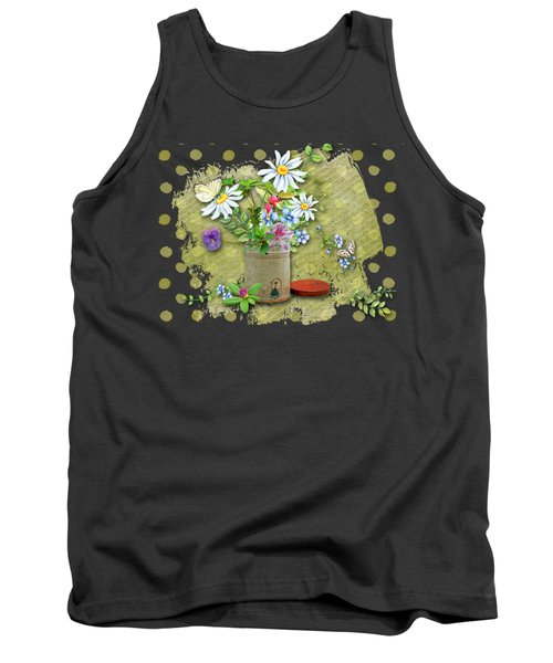 Antique Tin Of Flowers Tank Top by Larry Bishop