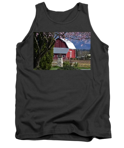 Apple Tree Pink And Barn Red Tank Top