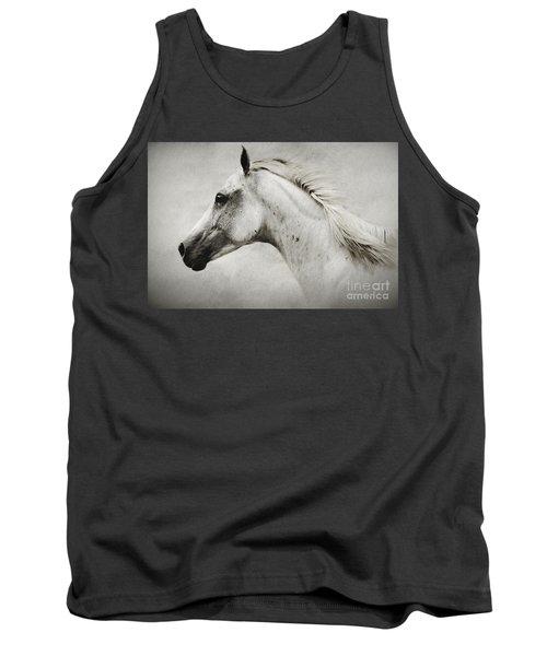 Arabian White Horse Portrait Tank Top