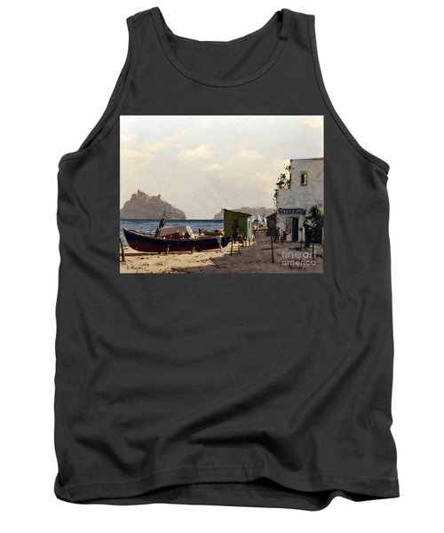 Tank Top featuring the painting Aragonese's Castle - Island Of Ischia by Rosario Piazza
