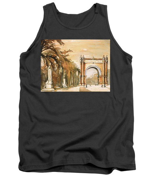 Tank Top featuring the painting Arch- Barcelona, Spain by Ryan Fox