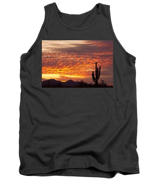 Arizona November Sunrise With Saguaro   Tank Top