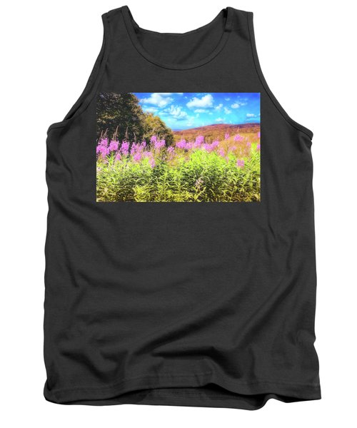 Art Photo Of Vermont Rolling Hills With Pink Flowers In The Foreground Tank Top