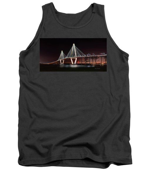 Tank Top featuring the photograph Arthur Ravenel Jr. Bridge At Midnight by George Randy Bass
