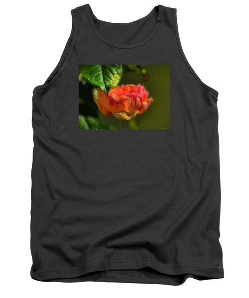 Artistic Rose And Leaf Tank Top