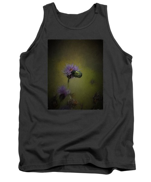 Tank Top featuring the photograph Artistic Two Beetles On A Thistle Flower by Leif Sohlman