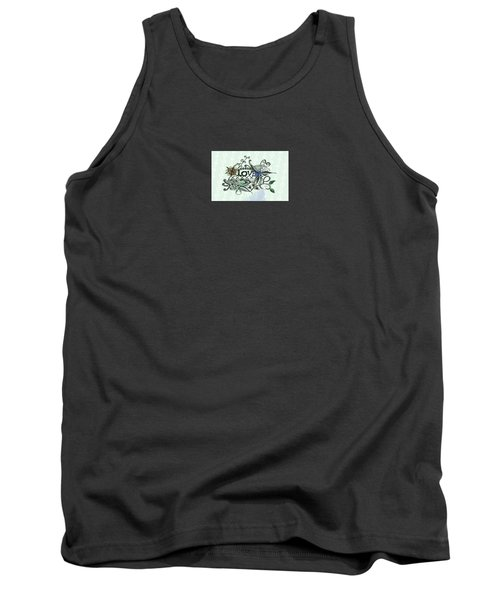 Pen And Ink Drawing Illustration Love  Tank Top by Saribelle Rodriguez