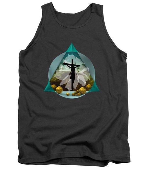 Tank Top featuring the digital art Silhouette Of Crossed Jesus by Alberto RuiZ