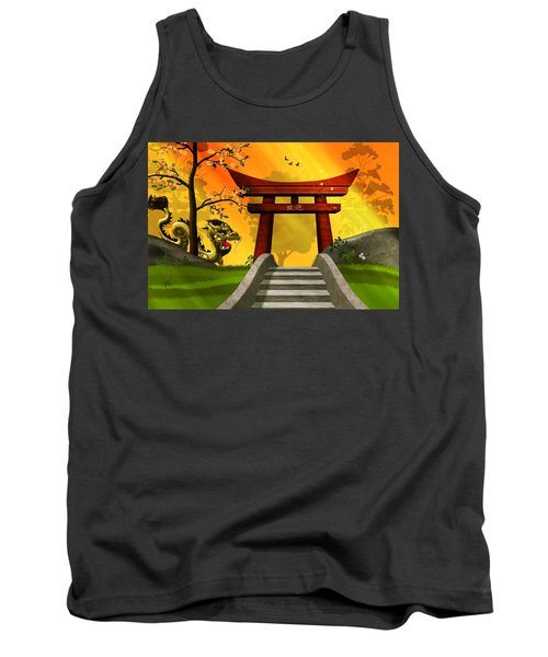 Asian Art Chinese Landscape  Tank Top by John Wills