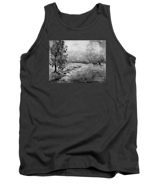 Tank Top featuring the painting Aska Farm Horses In Bw by Gretchen Allen