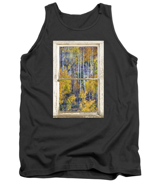 Aspen Tree Magic Cottonwood Pass White Farm House Window Art Tank Top