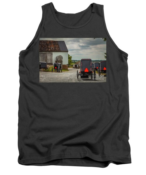 Assorted Amish Buggies At Barn Tank Top