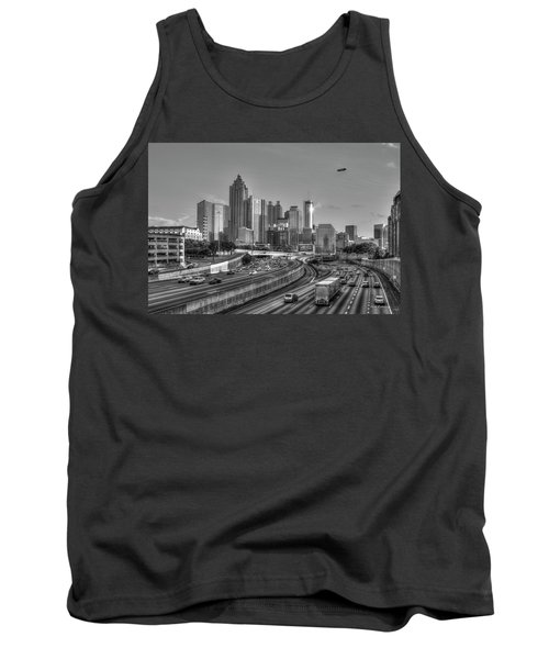 Atlanta Sunset Good Year Blimp Overhead Cityscape Art Tank Top